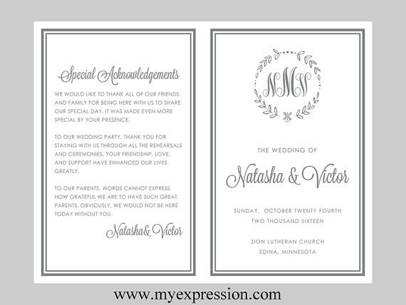 Diy Wedding Program Template Bifold Gray Monogram Leaf