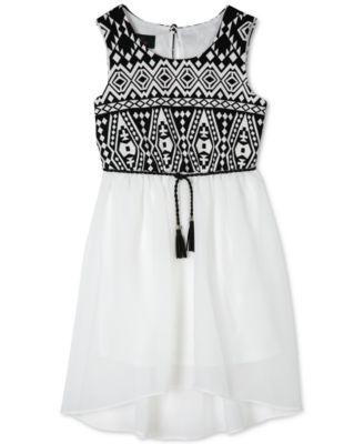 BCX Girls' Textured Knit High-Low Dress