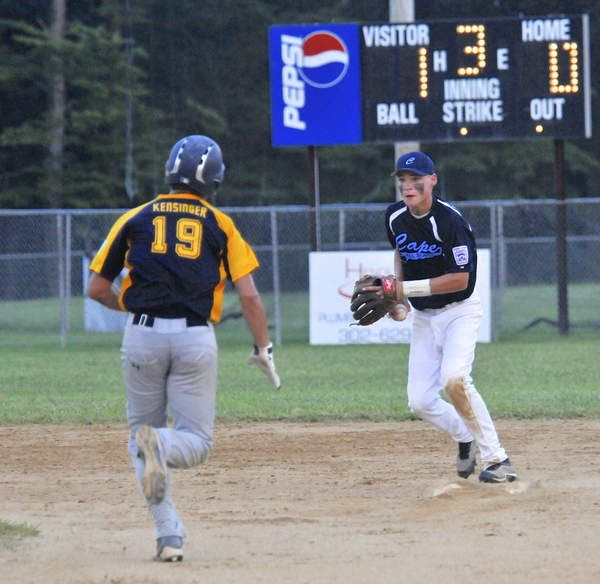 Cape Junior League All-Star shortstop Noah Clifton tags second to force out Nanticoke's Dylan Kensinger to start a double play. Click http://capegazette.villagesoup.com/p/cape-junior-league-all-stars-advance-to-finals/1032630 to read entire baseball article: Cape Junior League All-Stars advance to finals by Ron MacArthur