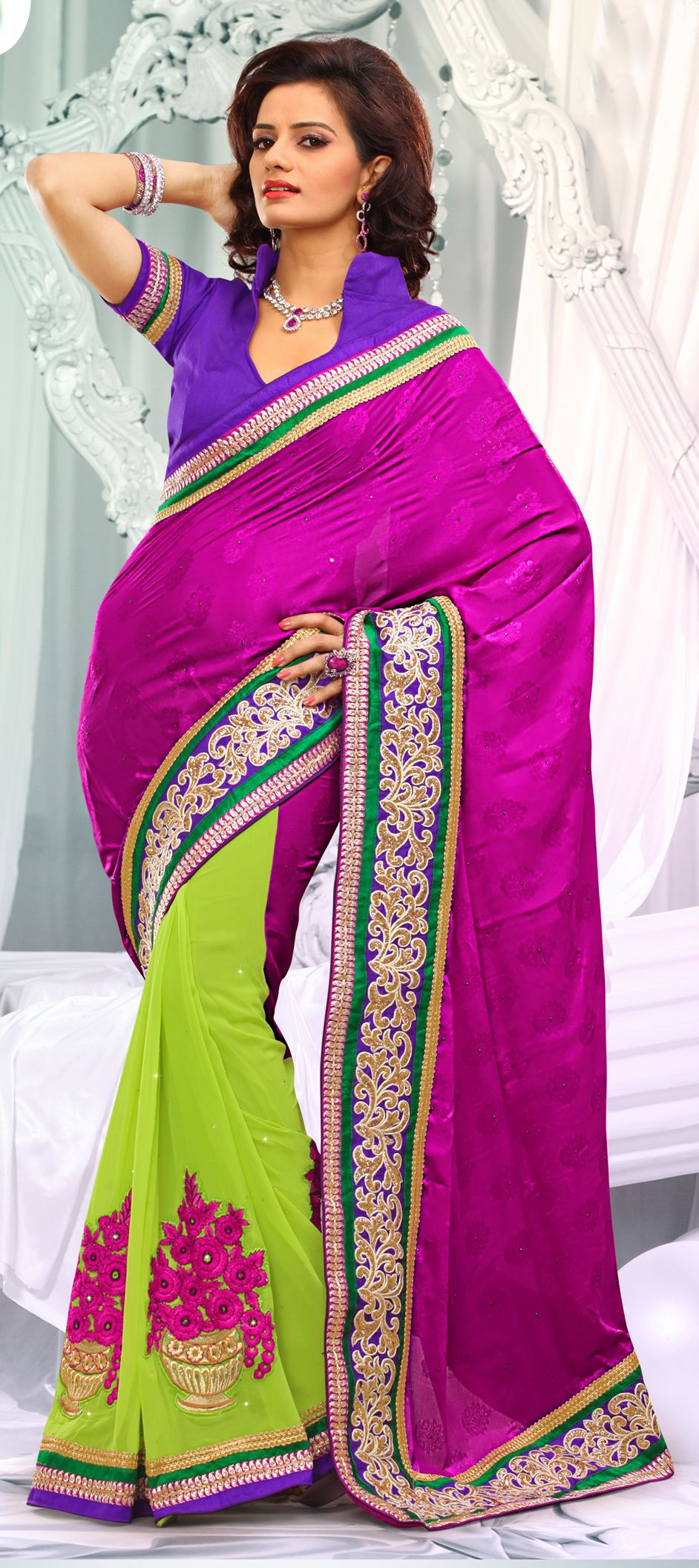151852: #ColorBlock your pretty #saree with neon colors ...