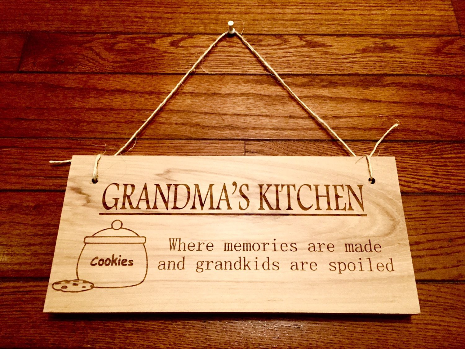 Wooden Signs For Kitchen White Cabinets And Backsplash Laser Engraved Grandma 39s Sign Home Decor