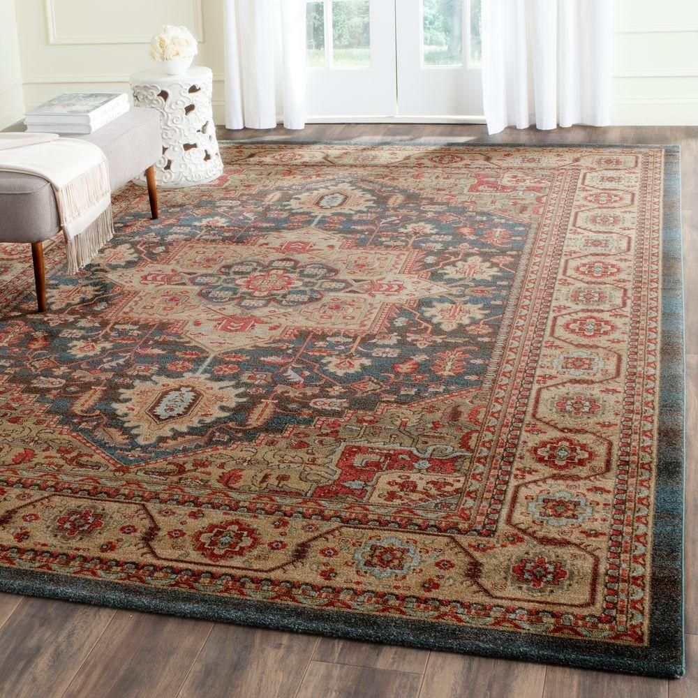 Safavieh Mahal Navy Natural 8 Ft X 11 Ft Area Rug Mah656e 8 The Home Depot Natural Area Rugs Area Rugs Oriental Rug Living Room