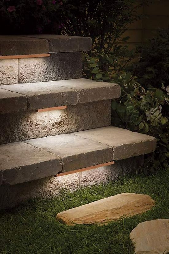 Low Profile Contemporary Stair Lighting Under Treads Of Outdoor Stone Steps