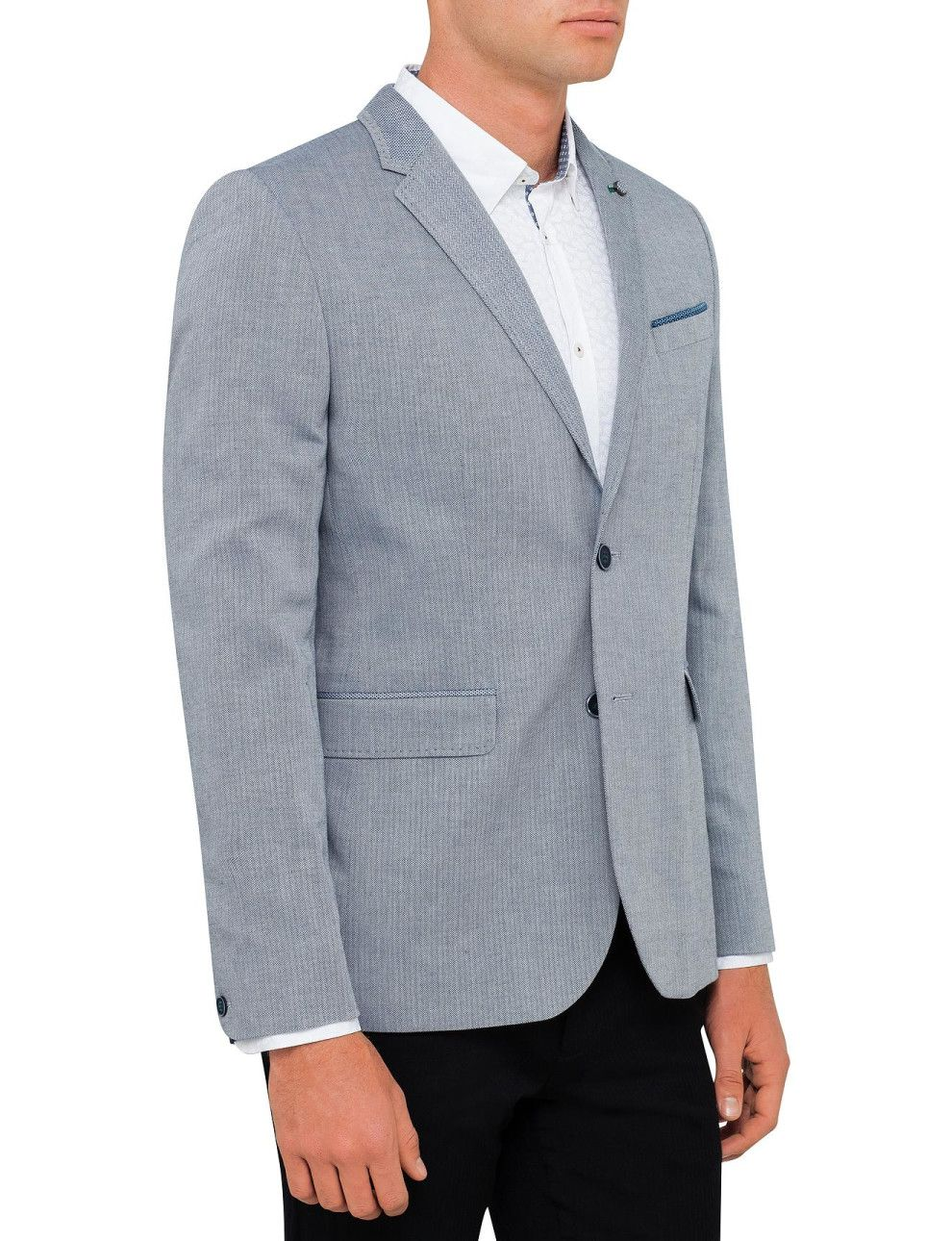 Linen Herringbone Jacket | David Jones | wedding suit ideas ...