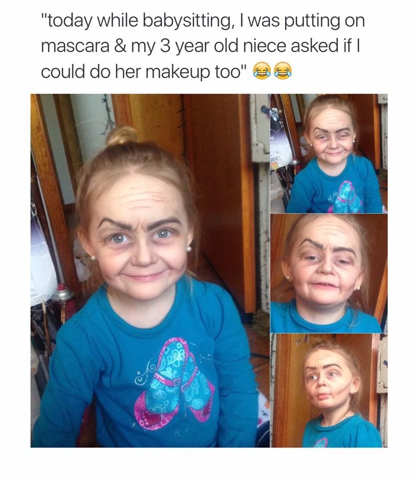 Old Lady Makeup On Little Girl Kids School Projects Funny Funny