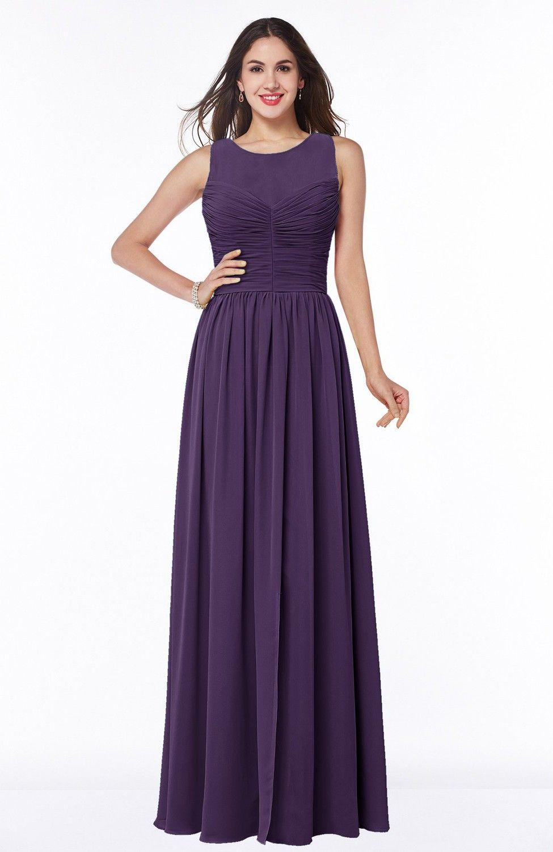 Violet bridesmaid dress elegant aline jewel chiffon floor length