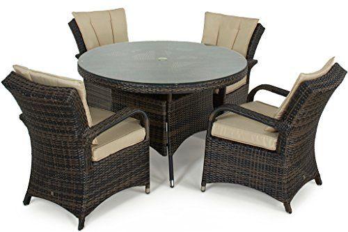 San Diego Rattan Garden Furniture Houston 4 Seater Round Table Set