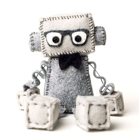 Geek Toys For Newborn : Geeky felt robot plush with nerd glasses and bowtie in