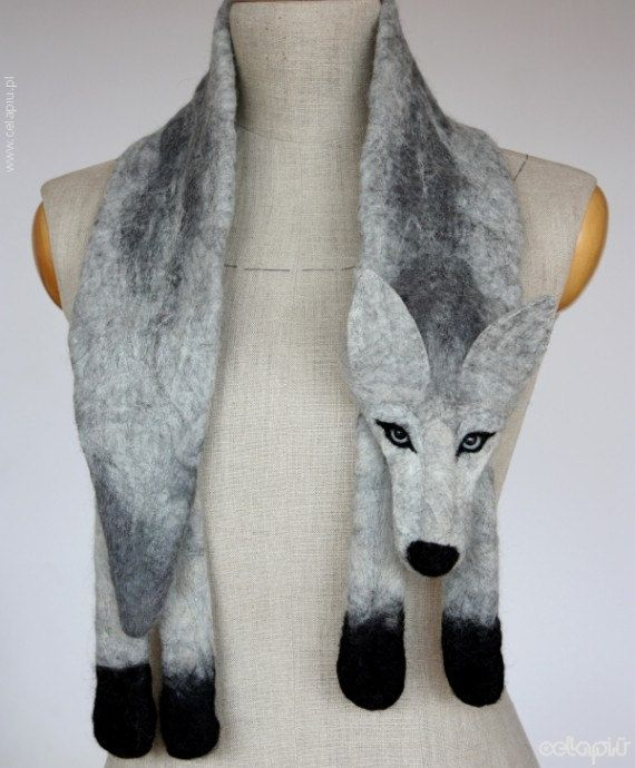 Silver Wolf - felted wool animal scarf / stole / shrug #feltedwoolanimals