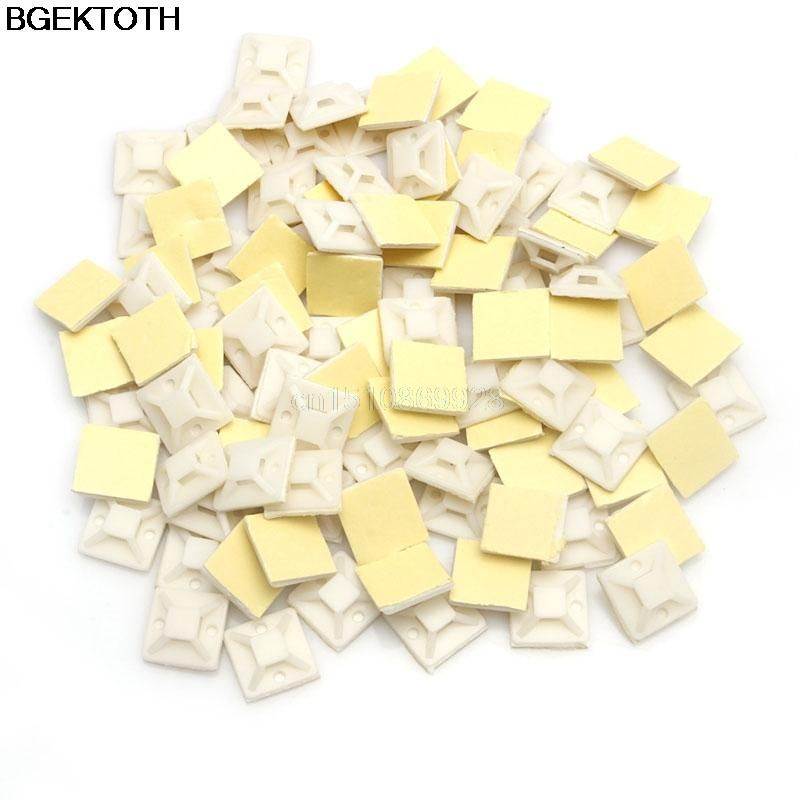 100Pcs 20mm Mounts Mounting Base Clamps Clip Self Adhesive Cable Wire Zip Tie HI