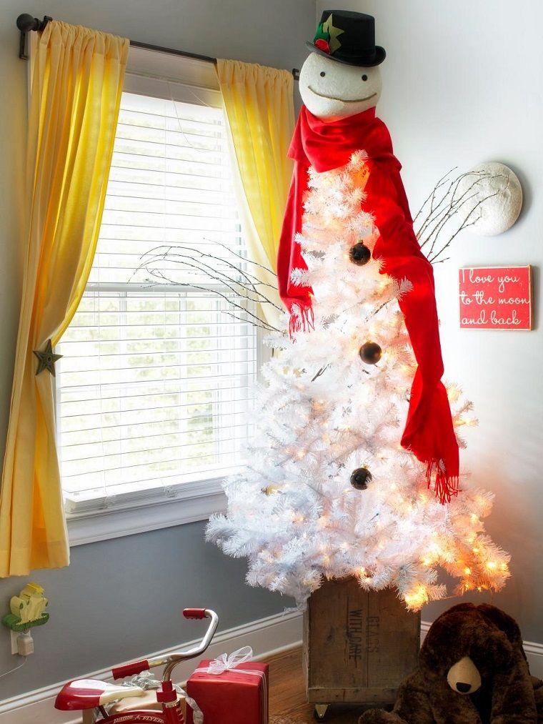 arbol navidad precioso blanco bufanda roja ideas - Arboles De Navidad Blancos