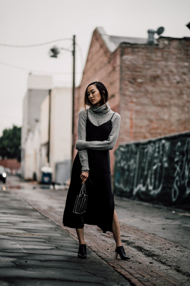 a54b8799064c How to Wear a Slip Dress in the Winter | mode | Winter dress outfits ...