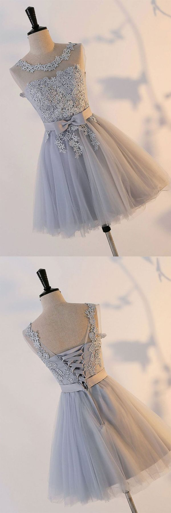 Silver knot tulle homecoming dresses with appliqueed