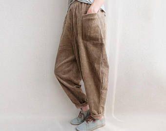 Les femmes velours pantalon taille élastique Zen pantalons sarouel, pantalons automnales, pantalons de Yoga, décontracté, pantalon large