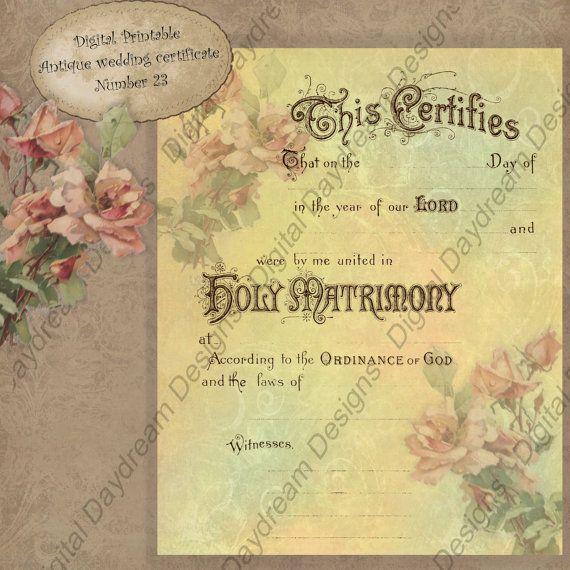 Printable Wedding Certificate Marriage Certificate Instant - copy free fake marriage certificate