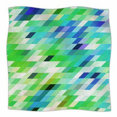 "East Urban Home 'Colorful Summer Geometric' By Dawid Roc Fleece Blanket Size: 90"" L x 90"" W x 1"" D"