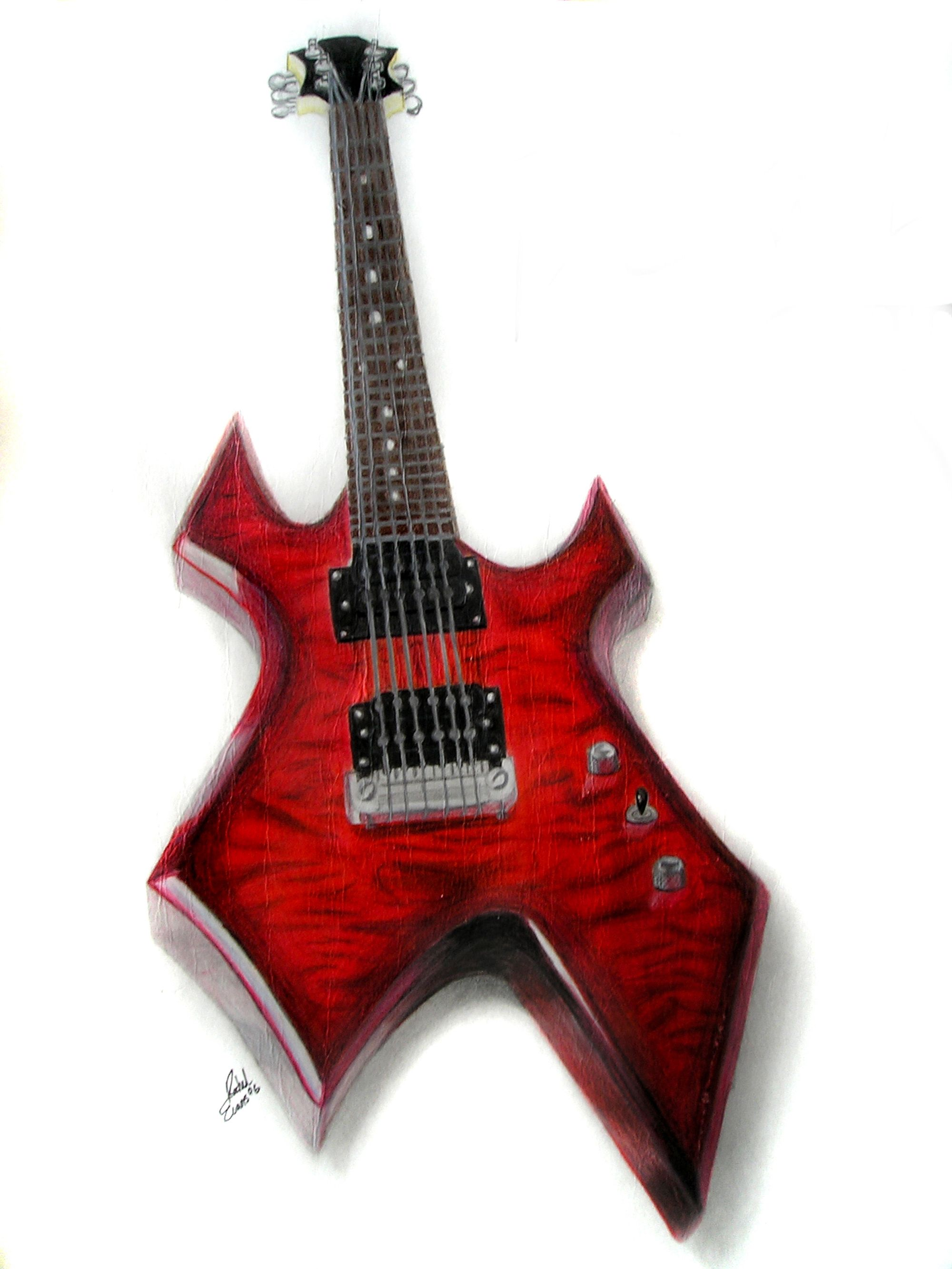 Red Bc Rich Warlock Guitar In Coloured Pencil My Home Sweet Home