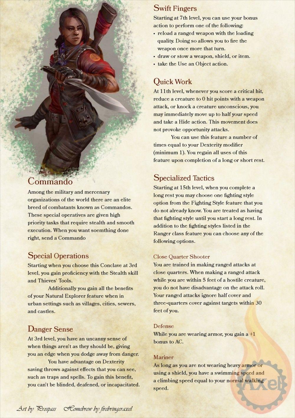 Ranger Subclass | D&D Classes | Dungeons, dragons homebrew