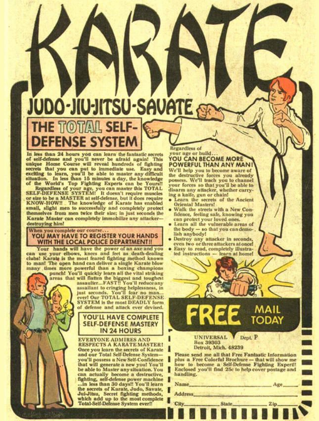 vintage comicbook ads | Karate and other Martial Arts Ad