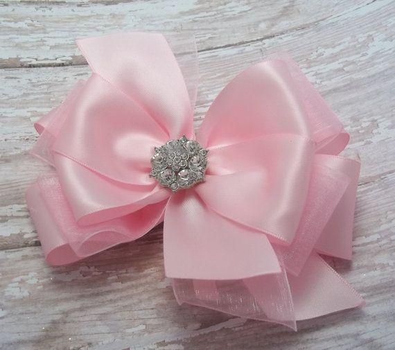 Rosa arcos del pelo del Boutique satén por JustinesBoutiqueBows Rosas 2df314b4d0e