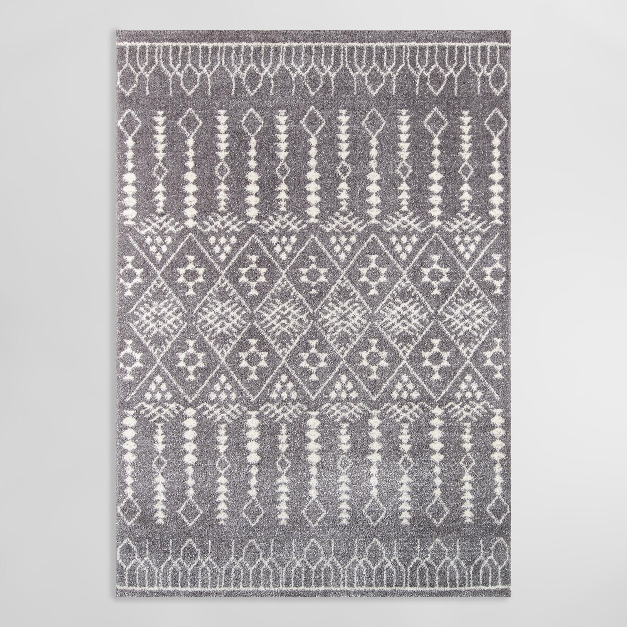 Distressed Gray Geometric Diamond Nola Area Rug 7ft10 X9ft10 By