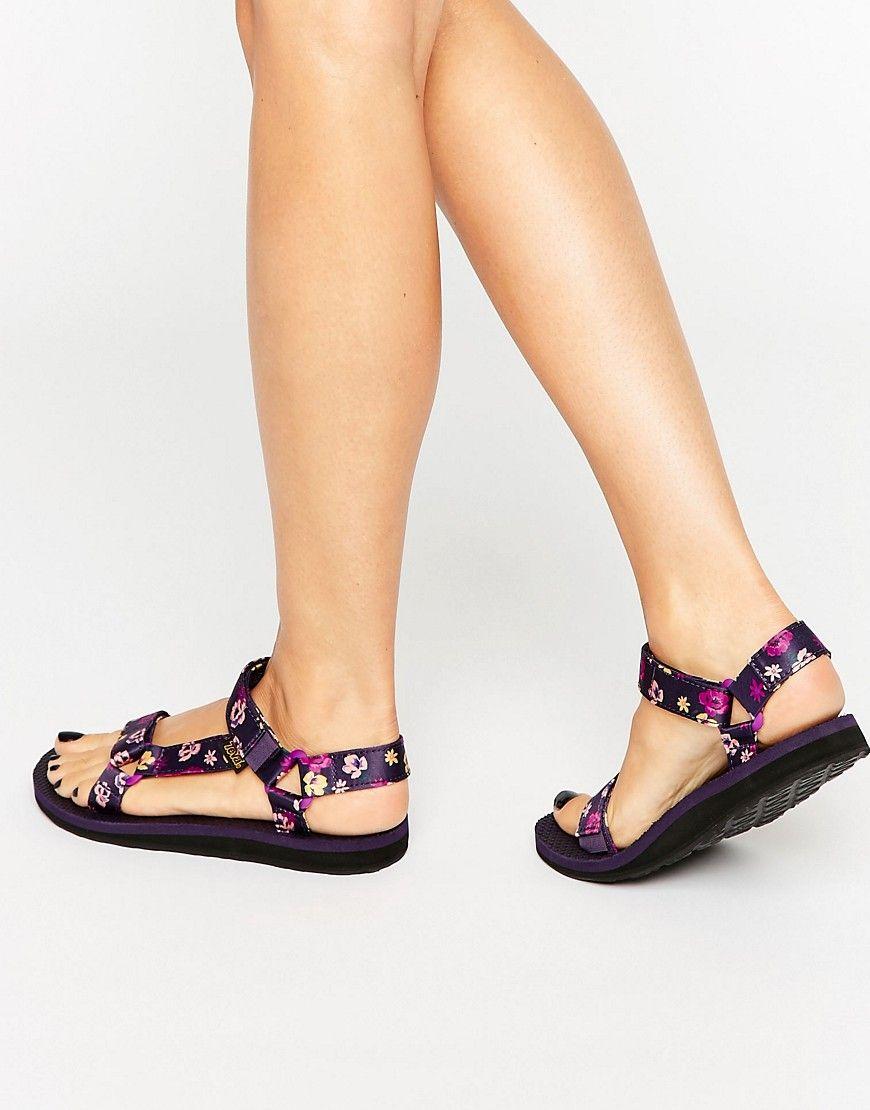 07b4179db13 Teva Original Universal Purple Wine Floral Flat Sandals