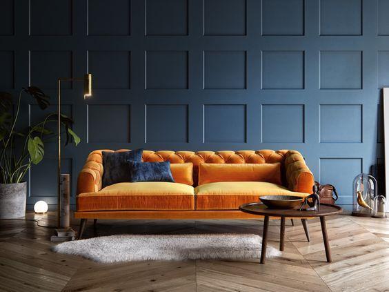 Design Bank Oranje.10x Fluwelen Chesterfield Bank Woonkamer Oranje Design