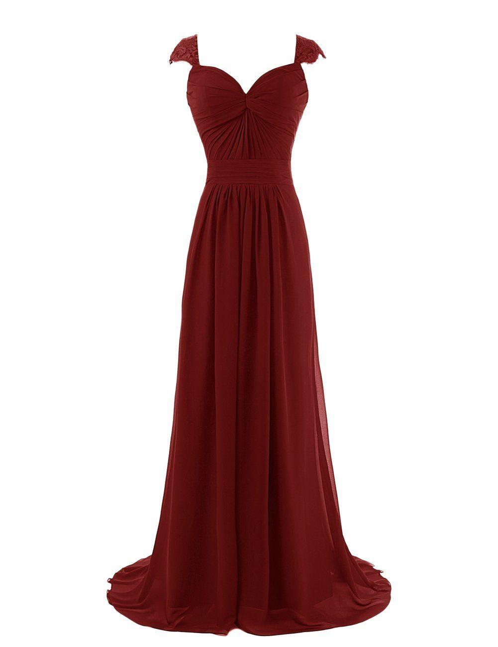 Diyouth long elegant chiffon sweetheart prom bridesmaid dress with