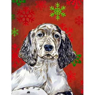 Caroline's Treasures English Setter Red Green Snowflakes Holiday Christmas House Vertical Flag