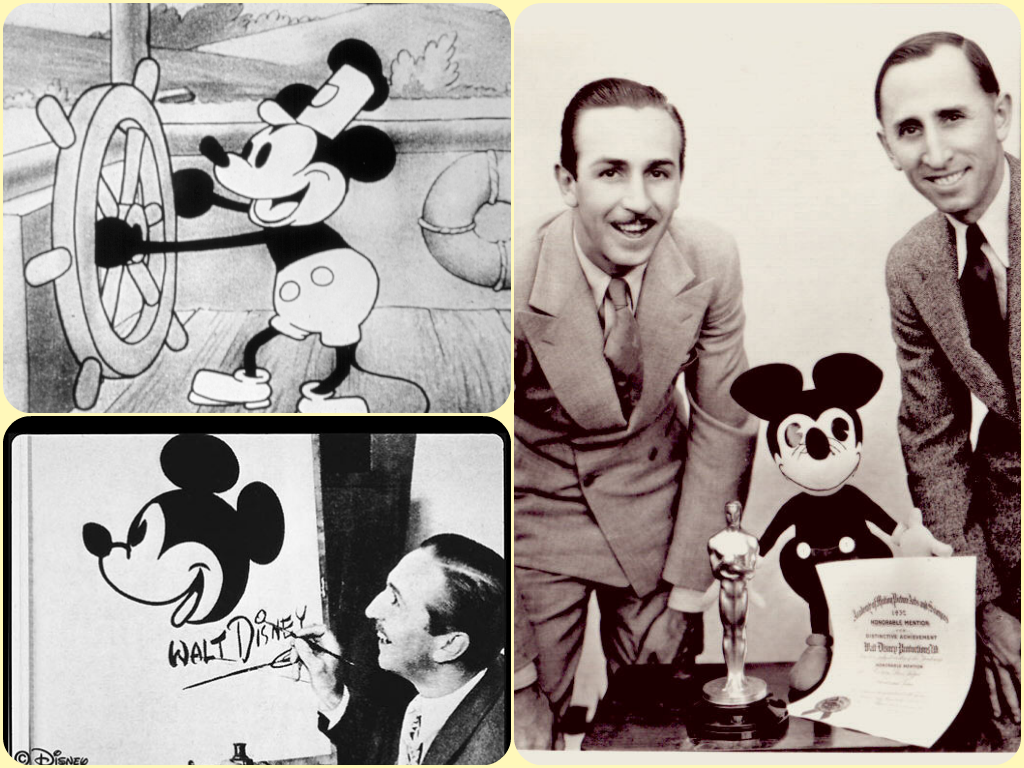1928 walt disney makes his first mickey mouse cartoon