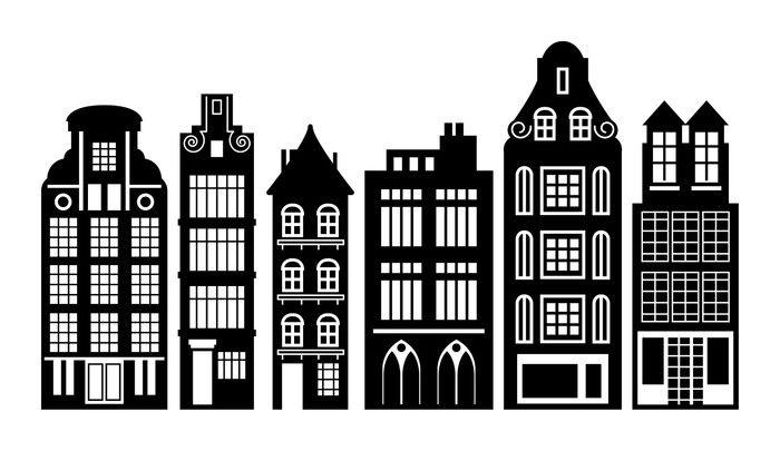 Aufkleber Old Holland Häuser gesetzt, VektorIllustration