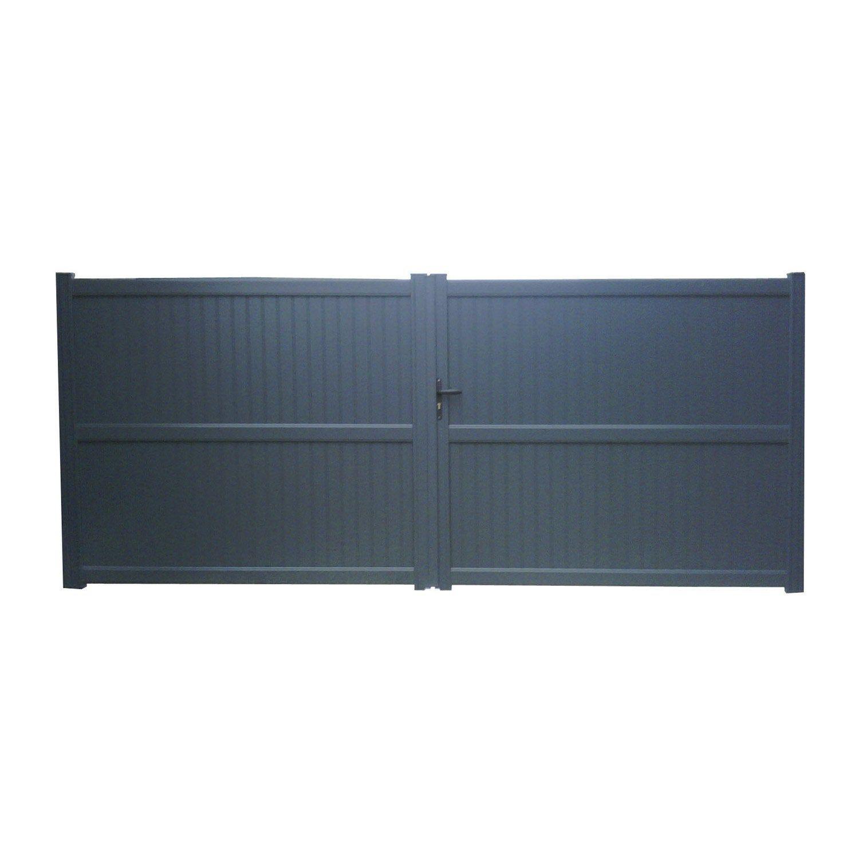 Portail Battant Aluminium Noyal Gris Zingué Naterial L300x