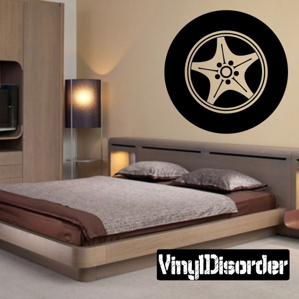 Tire Rim Wall Decal - Vinyl Decal - Car Decal - DC009