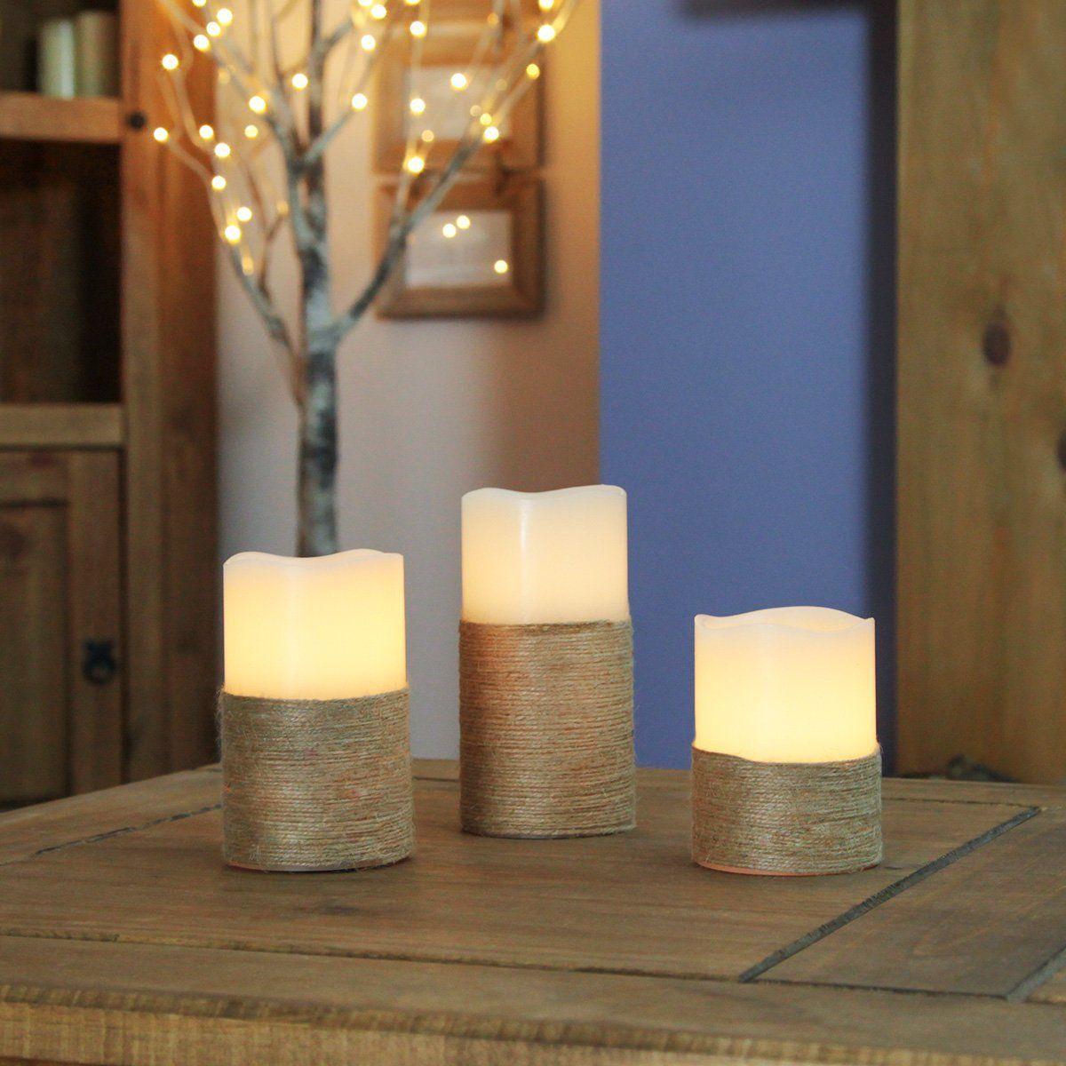 3 Led Echtwachs Flacker Kerzen Mit Seil Rustikaler Look Batteriebetrieben Von Festive Lights Led Kerzen Beleuchtung