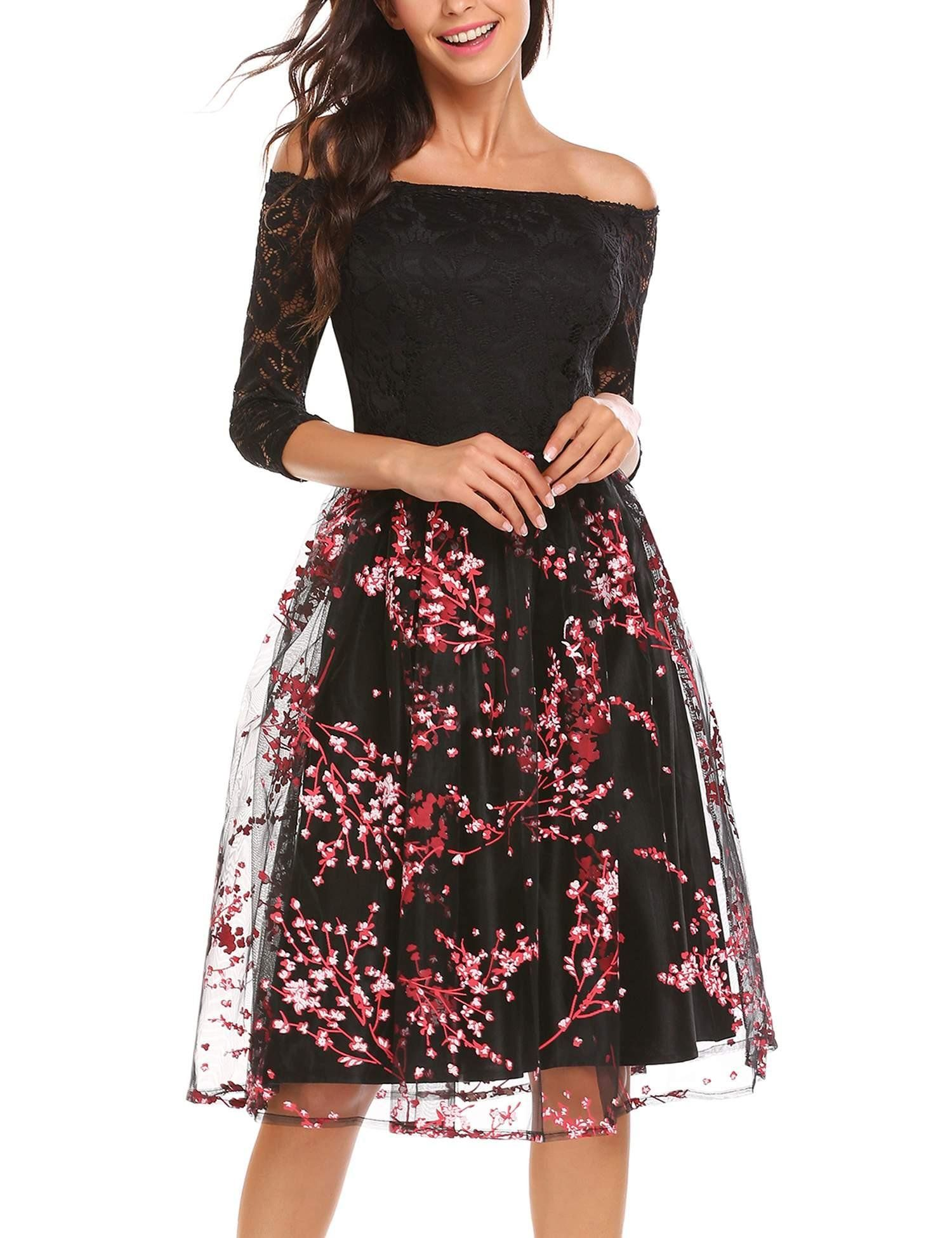 3dbf0cbd7195 ANGVNS Womens Vintage Floral Lace Long Sleeve Boat Neck Cocktail Formal  Swing Dress Red XL ** To view further for this item, visit the image link.