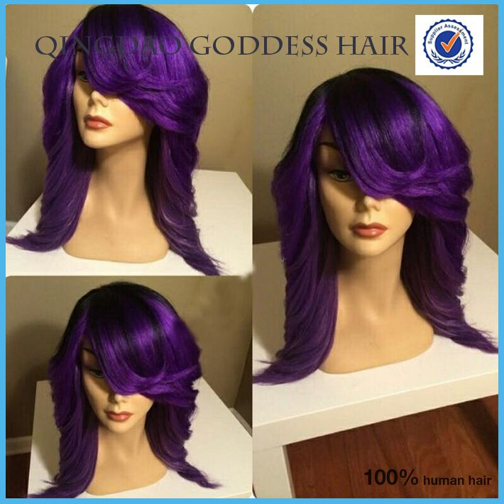 Wigs Purple Hair Ombre Lace Wig With Side Bangs Short Bob Cut