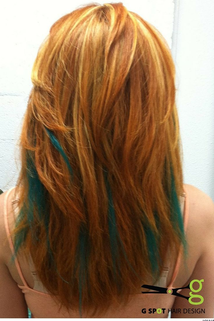 Tons of Ginger and Teal green pinch braids to add color without ...
