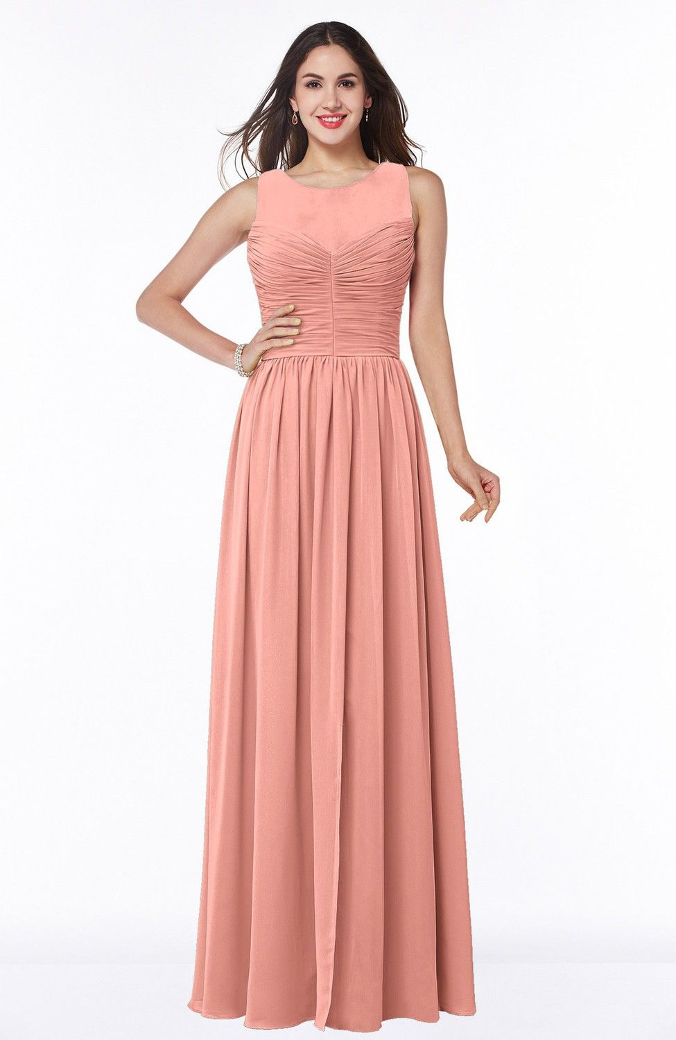Peach Bridesmaid Dress - Elegant A-line Jewel Chiffon Floor Length ...