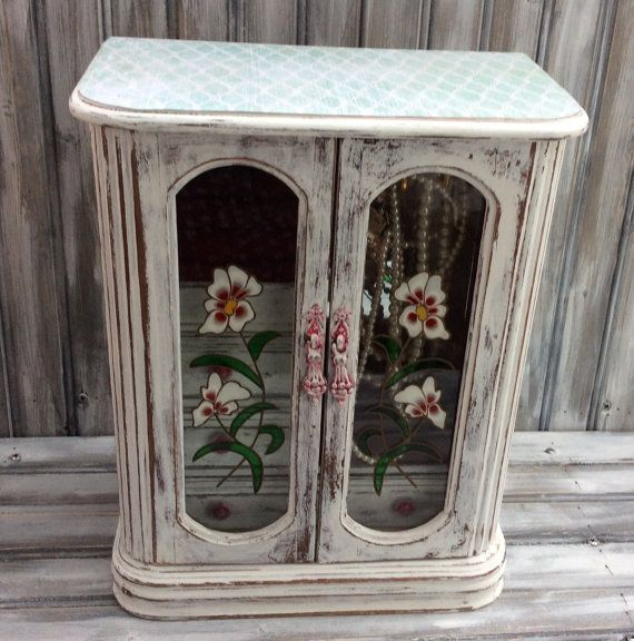 Vintage Jewelry Box Armoire Shabby Chic by LetaPearlEmporium