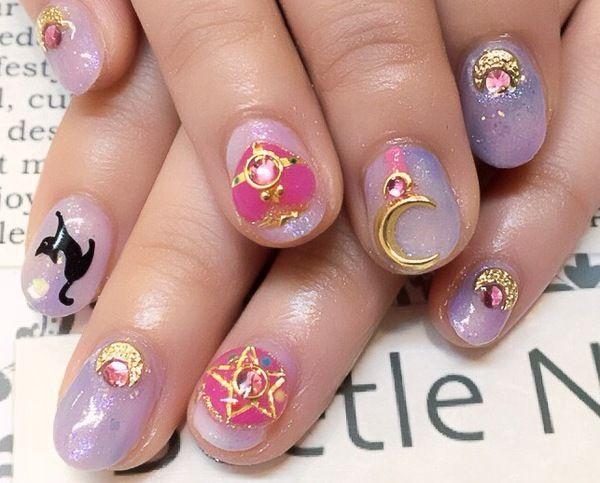 sailor moon nail artso cute
