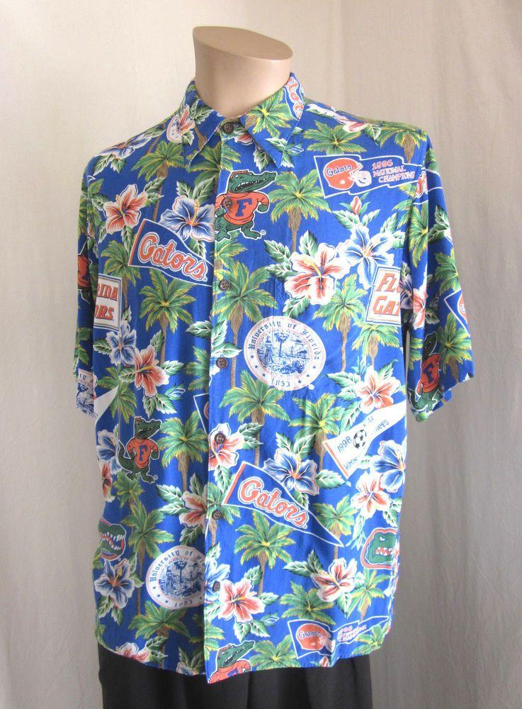 018273cf REYN SPOONER Men's FLORIDA GATOR Short Sleeve Hawaiian Aloha Shirt M Medium  #ReynSpooner #Hawaiian