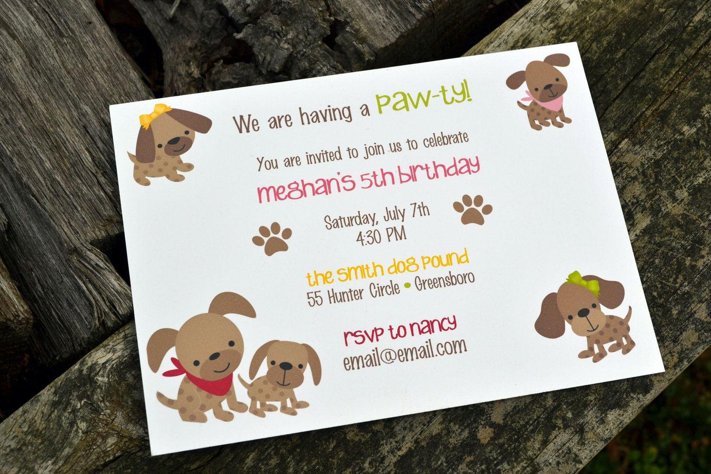 Kids Puppy Dog Party Invitations / Kids Birthday Party Invitations ...