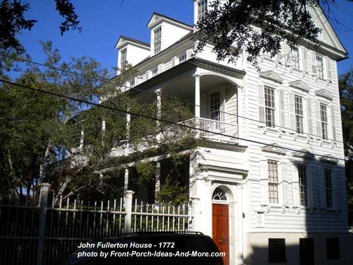 Historic John Fullerton home in Charleston - closed #porch door = visitors are not to enter, open = visitors welcome. From Front-Porch-Ideas-and-More.com #frontporch