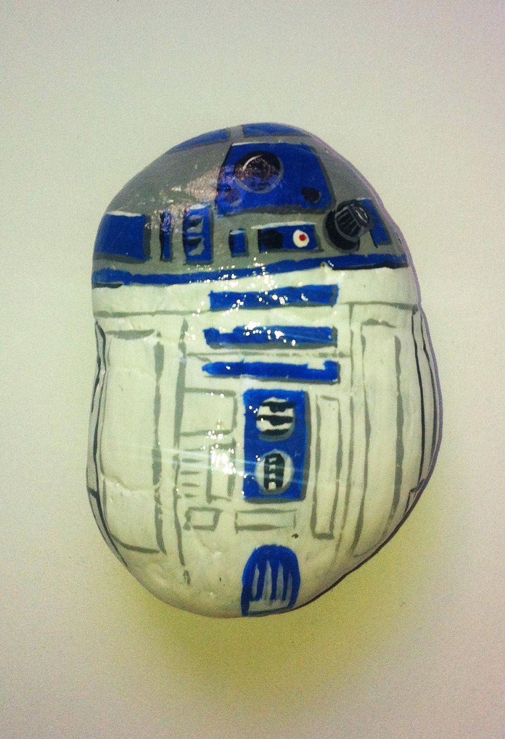R2D2 Painted Rock by RocksRocks on Etsy, $20.00...cuz it's soooooo cool and cuz my son is the artist!