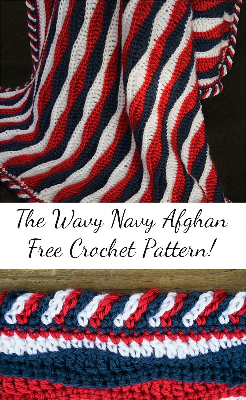 Free Pattern] The Wavy Navy Crochet Afghan! Visit pattern site ...