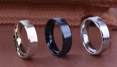6MM Stainless Steel Ring Band Titanium Silver Black Gold Men SZ 7 to 15 Wedding