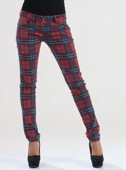PATRIZIA PEPE PANTALONE 98% Cotone 2% Elastan Colore Red Check Pantalone 5 Tasche Modello Slim