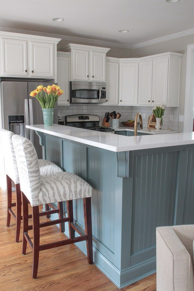 Blue and White Kitchen Renovation Reveal - Trendy kitchen backsplash, Diy kitchen renovation, Kitchen renovation, Kitchen design, White kitchen renovation, Kitchen colors - blue and white kitchen renovation with quartz countertops