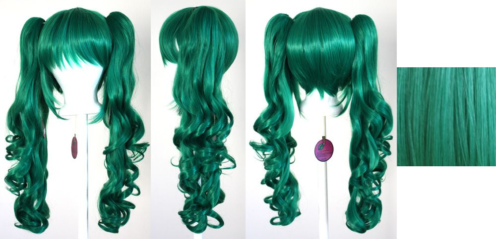 Base Mint Green Cosplay Wig NEW 23/'/' Curly Pig Tails