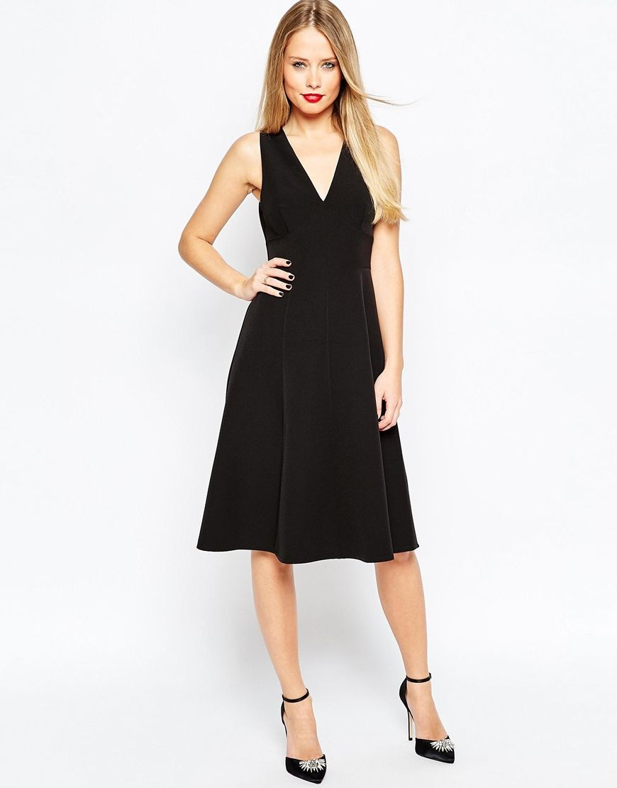 ASOS Clean Deep V Tailored Midi Dress $76